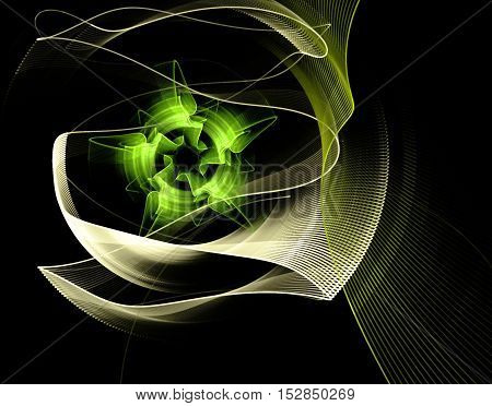 Abstract fractal flower computer-generated image on black background
