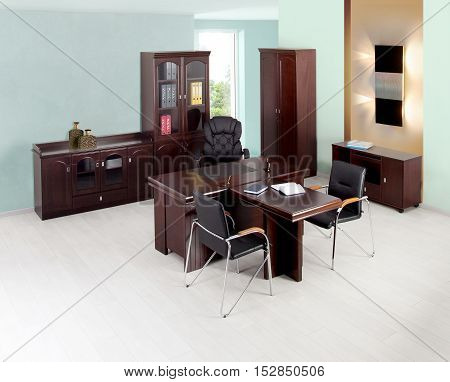 Contemporary modern office interior free of people