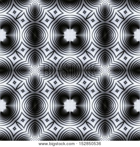 Abstract seamless black and white kaleidoscopic circular pattern. Mosaic floor seamless pattern of circular and oval shapes