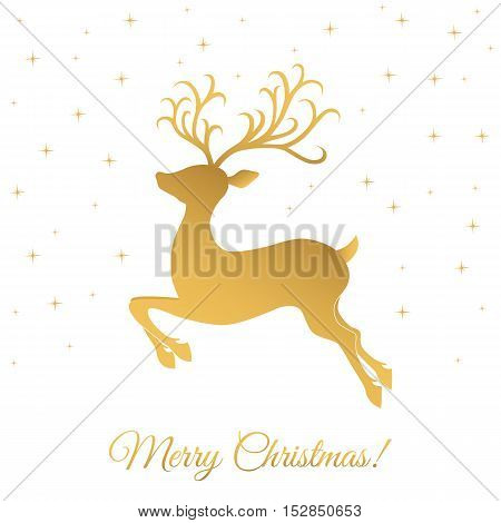 Christmas greeting card template with golden deer on white background. Vector illustration.