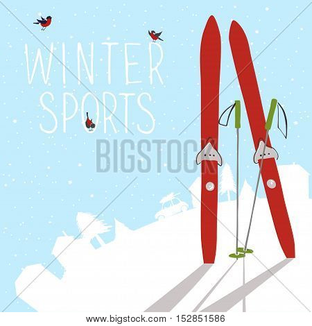 Winter landscape with ski and silhouette of village. Vector illustration.