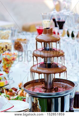 Reception with milk chocolate fountaine and sweets