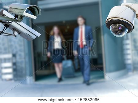 Cctv Camera With Airport Area And People