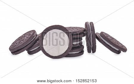 Chocolate cookies with cream filling isolated on white