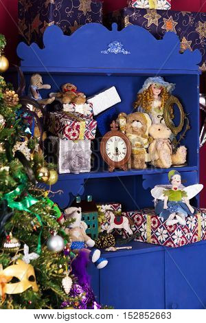 old-fashion Christmas decoration with toys and gifts
