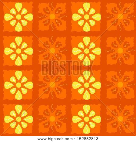 Seamless colored pattern in vector. Orange background.