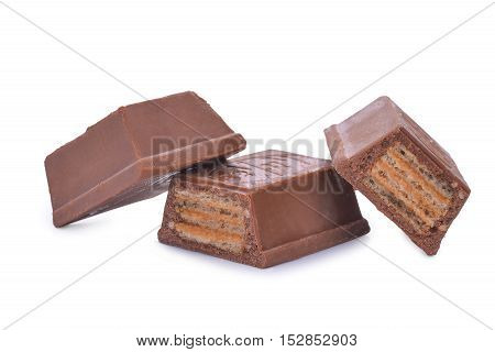 wafers in chocolate isolated on a white