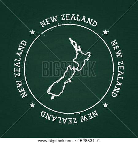 White Chalk Texture Rubber Seal With New Zealand Map On A Green Blackboard. Grunge Rubber Seal With