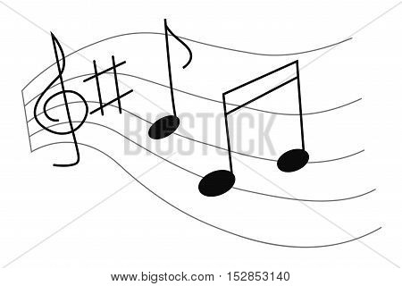 vector illustration of a music notes and key