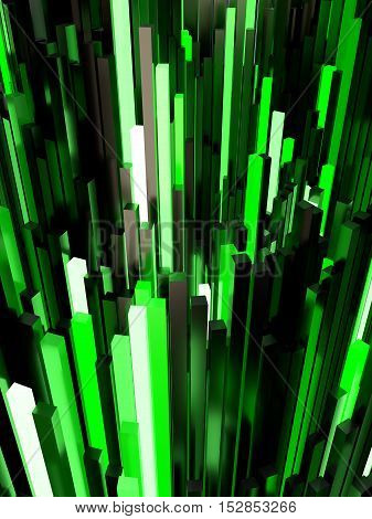 Abstract Green Light Background 3D Illustration