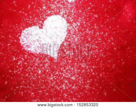 beautiful shiny heart on a bright red background