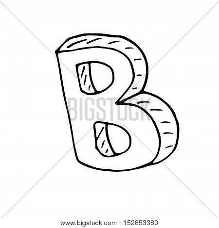 English alphabet - hand drawn letter B text