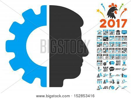 Android Head pictograph with bonus 2017 new year graphic icons. Vector illustration style is flat iconic symbols, modern colors, rounded edges.