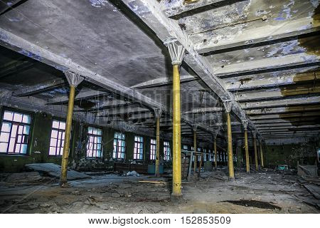 Interior of the Abandoned Factory Red Triangle, Saint Petersburg, Russia