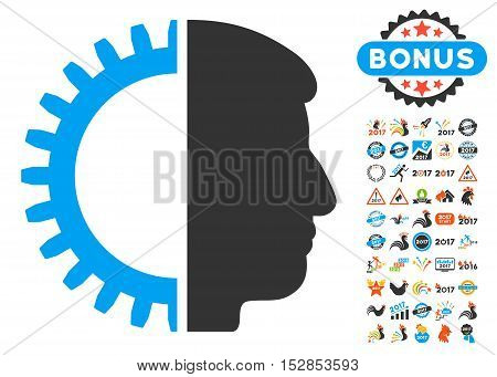 Android Head pictograph with bonus 2017 new year design elements. Vector illustration style is flat iconic symbols, modern colors, rounded edges.