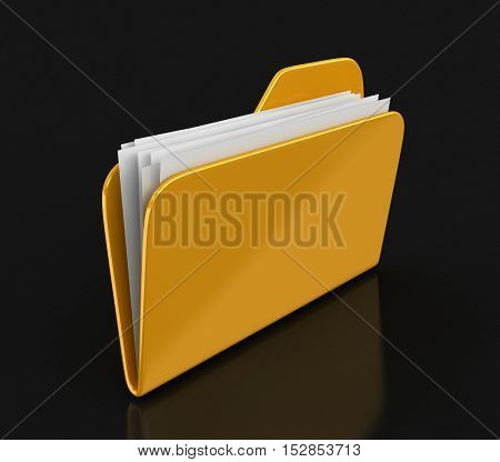 3D Illustration. Yellow folder and files. Image with clipping path