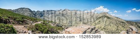 Panorama of the Circo of Gredos in Avila Spain a blue sky day of summer