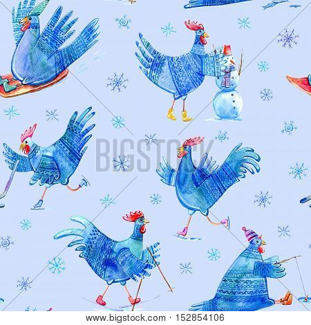 Seamless pattern with comic rooster on skates,skiing,snowman,hockey,fishing,sled and snowflake.Symbol of the new year 2017.Watercolor hand drawn illustration.Blue background.