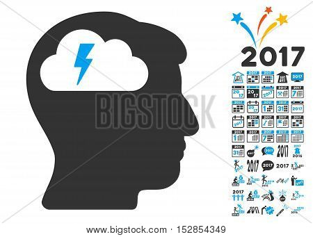 Brainstorming pictograph with bonus 2017 new year icon set. Vector illustration style is flat iconic symbols, modern colors, rounded edges.