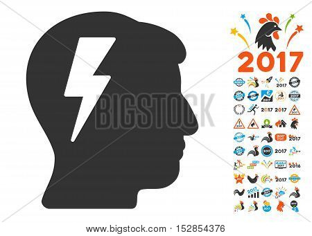 Brainstorming icon with bonus 2017 new year design elements. Vector illustration style is flat iconic symbols, modern colors, rounded edges.