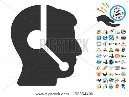 Call Center Operator pictograph with bonus 2017 new year design elements. Vector illustration style is flat iconic symbols, modern colors, rounded edges.