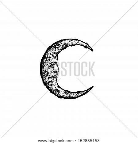 Vector Hand Drawn Moon Illustration.