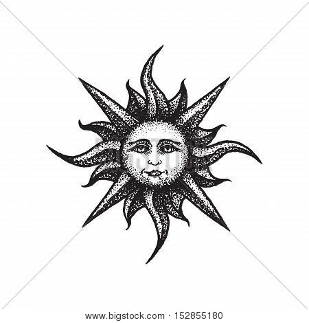 Vector Hand Drawn Sun Illustration.