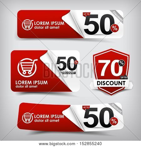 Collection of red and white web tag banner promotion sale discount style vector illustration 001