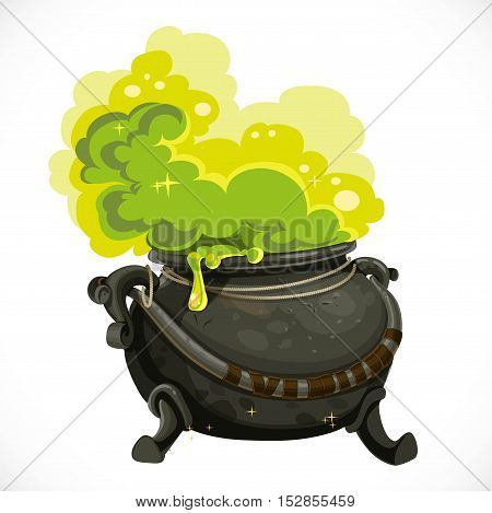 Witches cauldron with green potion and steam isolated on white background