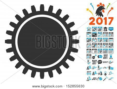 Cogwheel icon with bonus 2017 new year design elements. Vector illustration style is flat iconic symbols, modern colors, rounded edges.