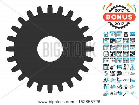 Cogwheel icon with bonus 2017 new year pictograms. Vector illustration style is flat iconic symbols, modern colors, rounded edges.