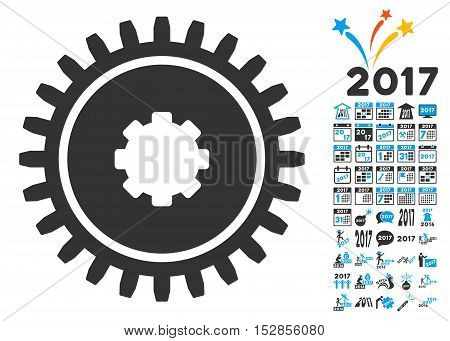 Cogwheel pictograph with bonus 2017 new year design elements. Vector illustration style is flat iconic symbols, modern colors, rounded edges.