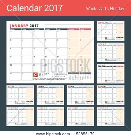 Calendar Template for 2017 Year. Business Planner 2017 Template. Stationery Design. Week starts Monday. 3 Months on the Page. Vector Illustration