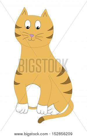 vector illustration of a happy yellow striped cat