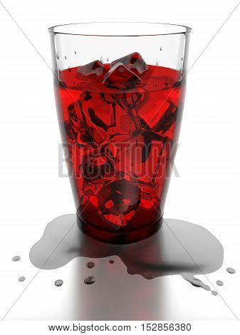 Ice cubes and red water in drinking glass 3d rendering