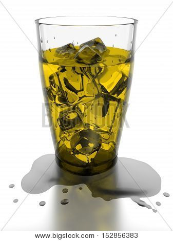 Ice cubes and yellow water in drinking glass 3d rendering