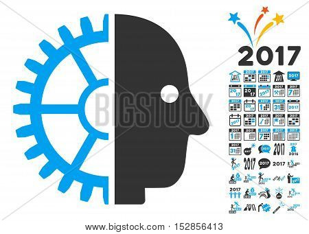 Cyborg Head pictograph with bonus 2017 new year clip art. Vector illustration style is flat iconic symbols, modern colors, rounded edges.