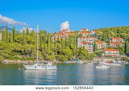 View at scenic in small town Cavtat in Croatia, Europe.
