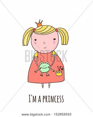 Cute little princess with a frog in his hands.