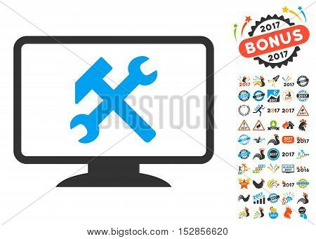 Desktop Settings pictograph with bonus 2017 new year pictures. Vector illustration style is flat iconic symbols, modern colors, rounded edges.