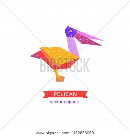 Tropical bird icon. Abstract pelican. Freehand drawn stylized emblem. Template of logo design. Colorful symbol sign isolated on white. Textured grunge element banner background. Vector illustration