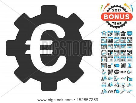 Euro Development Gear pictograph with bonus 2017 new year clip art. Vector illustration style is flat iconic symbols, modern colors, rounded edges.