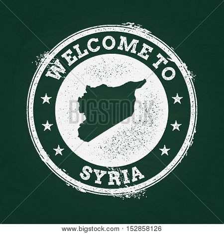 White Chalk Texture Retro Stamp With Syrian Arab Republic Map On A Green Blackboard. Grunge Rubber S
