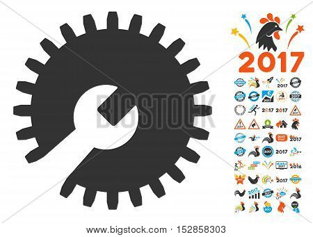 Gear Tools pictograph with bonus 2017 new year pictograms. Vector illustration style is flat iconic symbols, modern colors, rounded edges.
