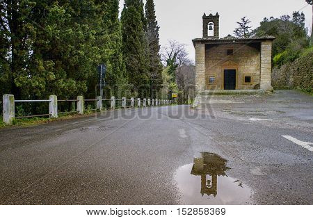 Casale MArittimo Pisa Tuscany - Italy - the small church of Our Lady of Grace Chapel