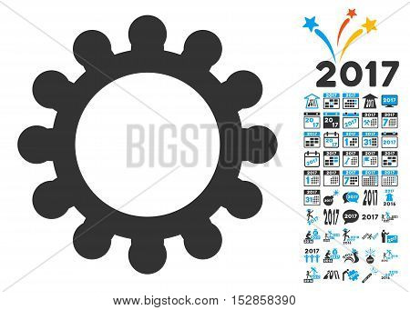 Gear icon with bonus 2017 new year pictograms. Vector illustration style is flat iconic symbols, modern colors, rounded edges.