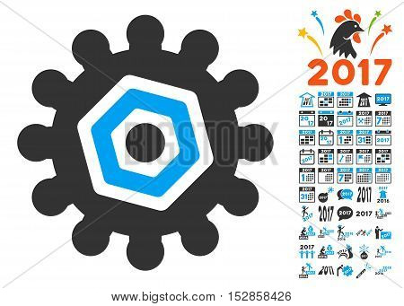 Gear icon with bonus 2017 new year graphic icons. Vector illustration style is flat iconic symbols, modern colors, rounded edges.