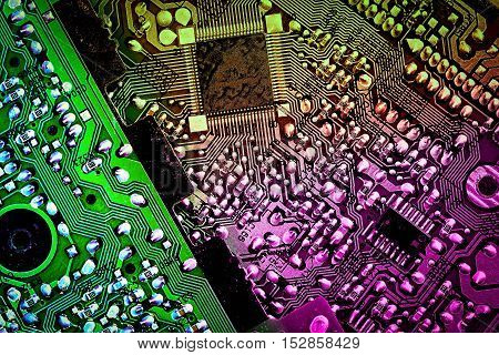 Abstract Technology Background Computer Motherboard, Toned In Violet Yellow Green Colors