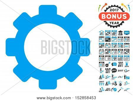 Gear icon with bonus 2017 new year images. Vector illustration style is flat iconic symbols, modern colors, rounded edges.