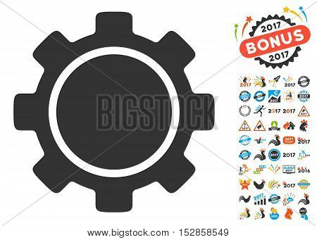 Gear pictograph with bonus 2017 new year graphic icons. Vector illustration style is flat iconic symbols, modern colors, rounded edges.